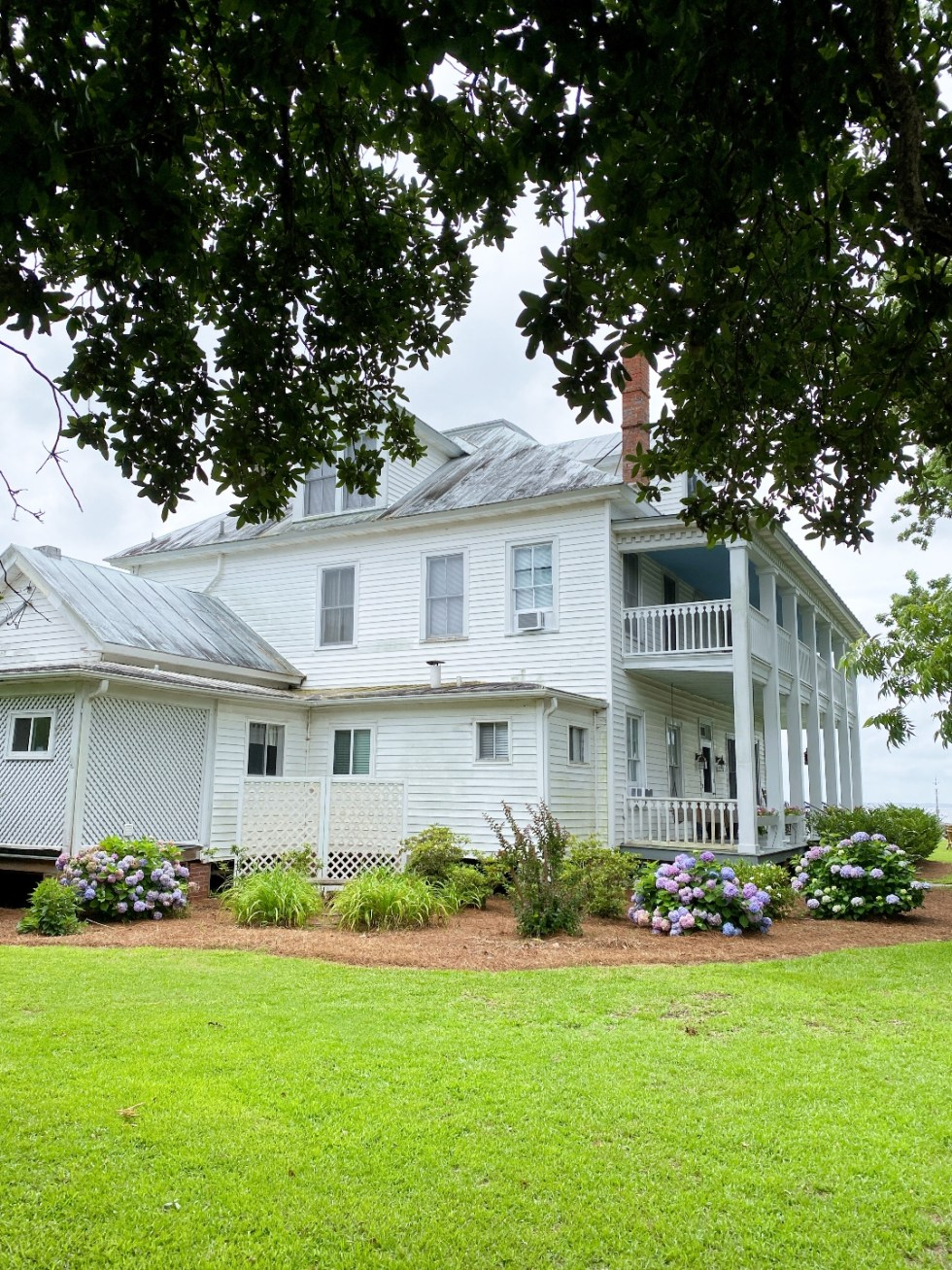What to Do in Oriental, NC - I'm Fixin' To - @imfixintoblog | Things to do in Oriental NC by popular NC travel blog, I'm Fixin' To: image of a white southern colonial house with purple hydrangeas.