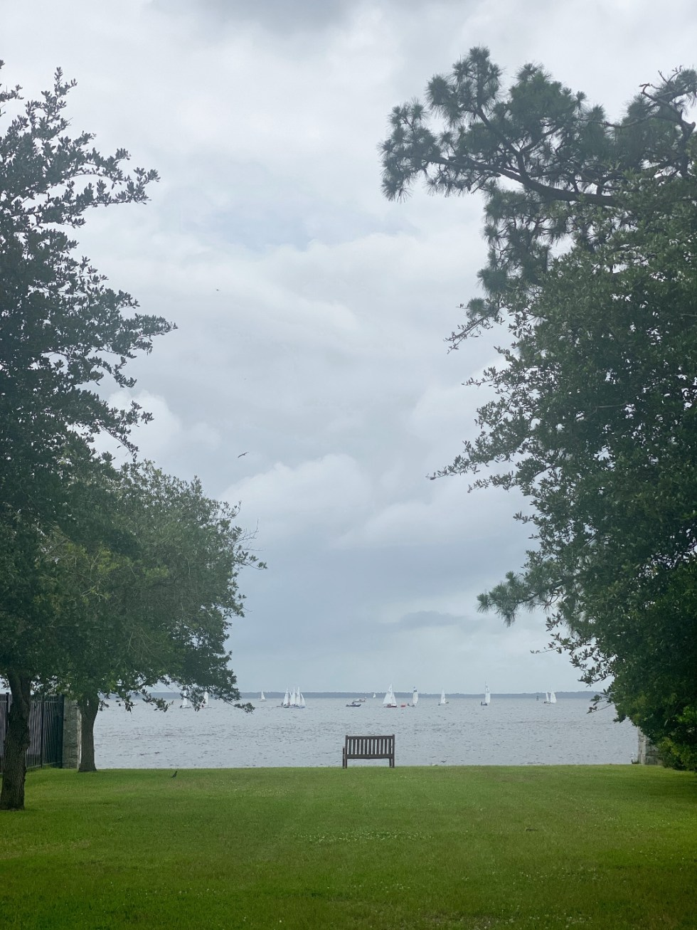 What to Do in Oriental, NC - I'm Fixin' To - @imfixintoblog | Things to do in Oriental NC by popular NC travel blog, I'm Fixin' To: image of a waterfront with sailboats on the horizon.
