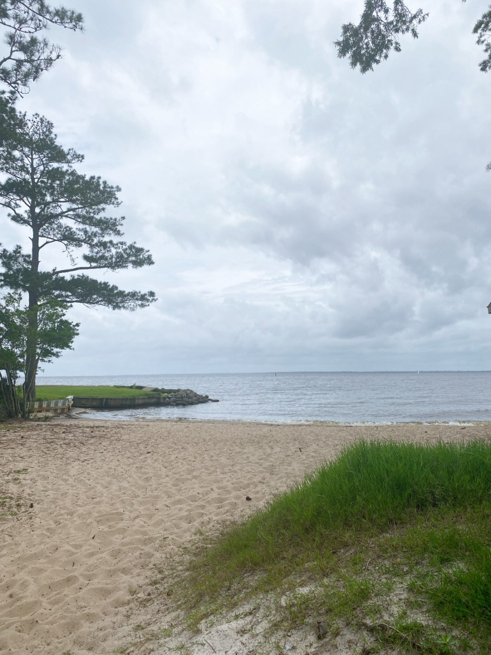 What to Do in Oriental, NC - I'm Fixin' To - @imfixintoblog | Things to do in Oriental NC by popular NC travel blog, I'm Fixin' To: image of a sandy beach with beach grass growing on some sand dunes.
