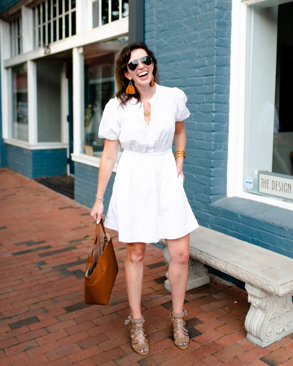 White After Labor Day by popular NC fashion blog, I'm Fixin' To: image of a woman wearing a white dress with brown strap sandals.