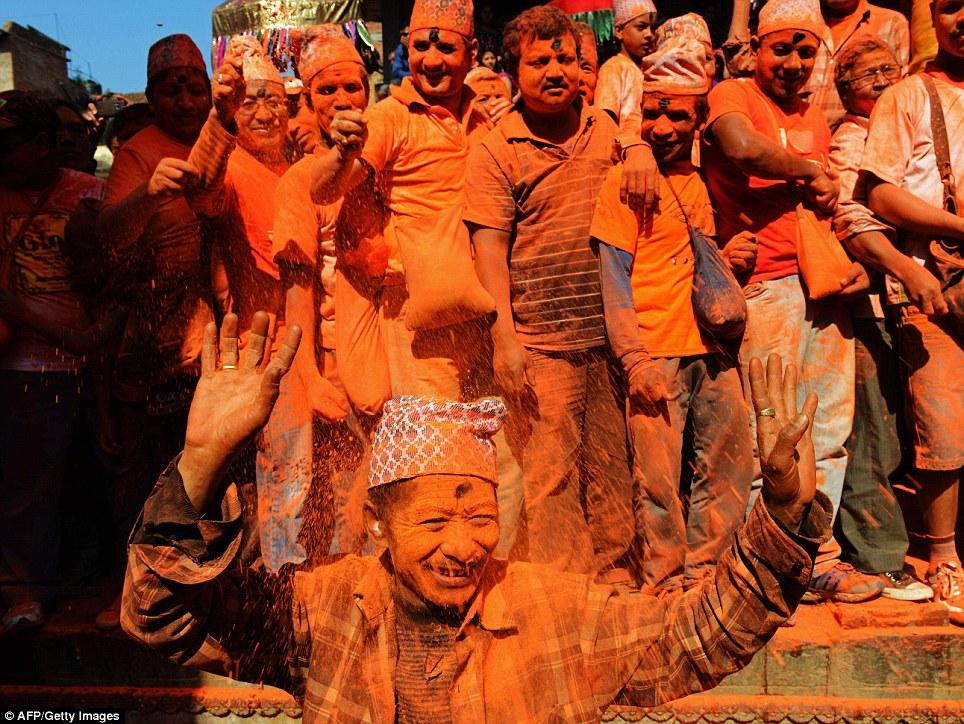 Playing with Colors (Sindhur) in Bisket Jatra