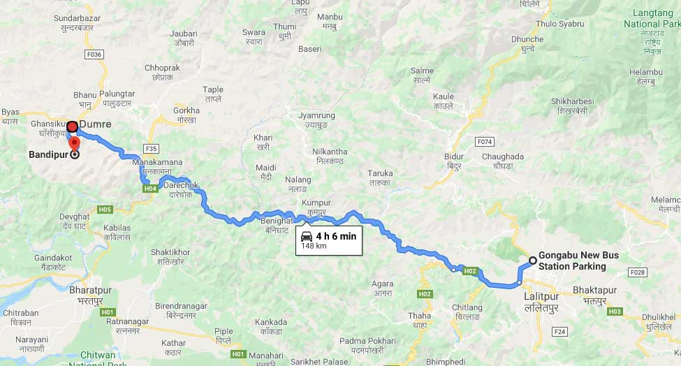 Bandipur from Kathmandu Map