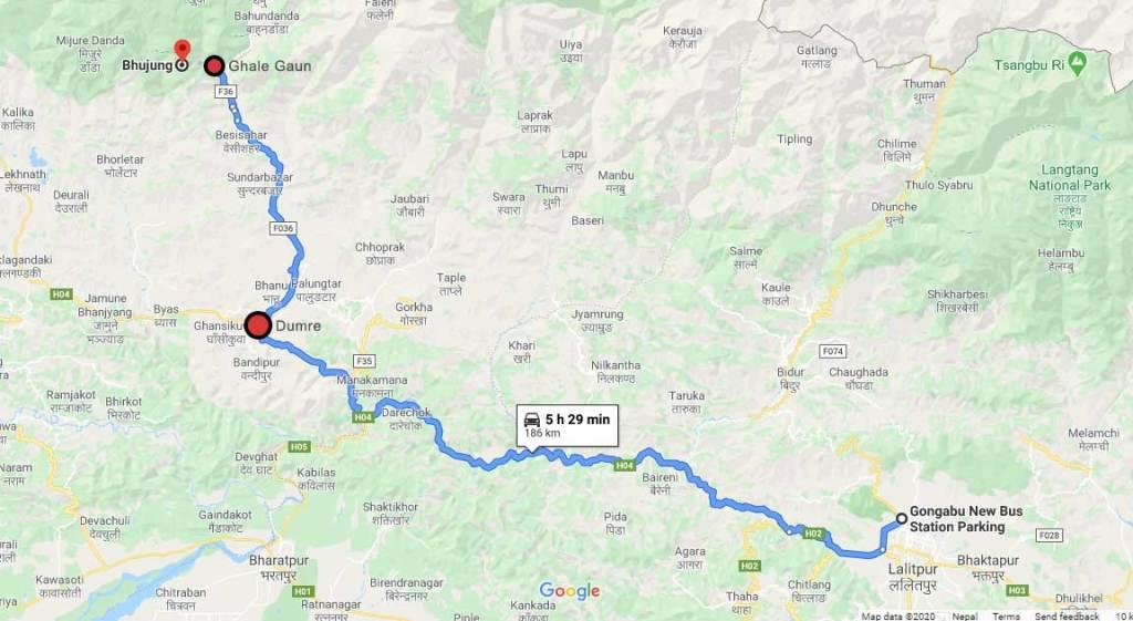 Bhujung, Ghalegaun from Kathmandu Map