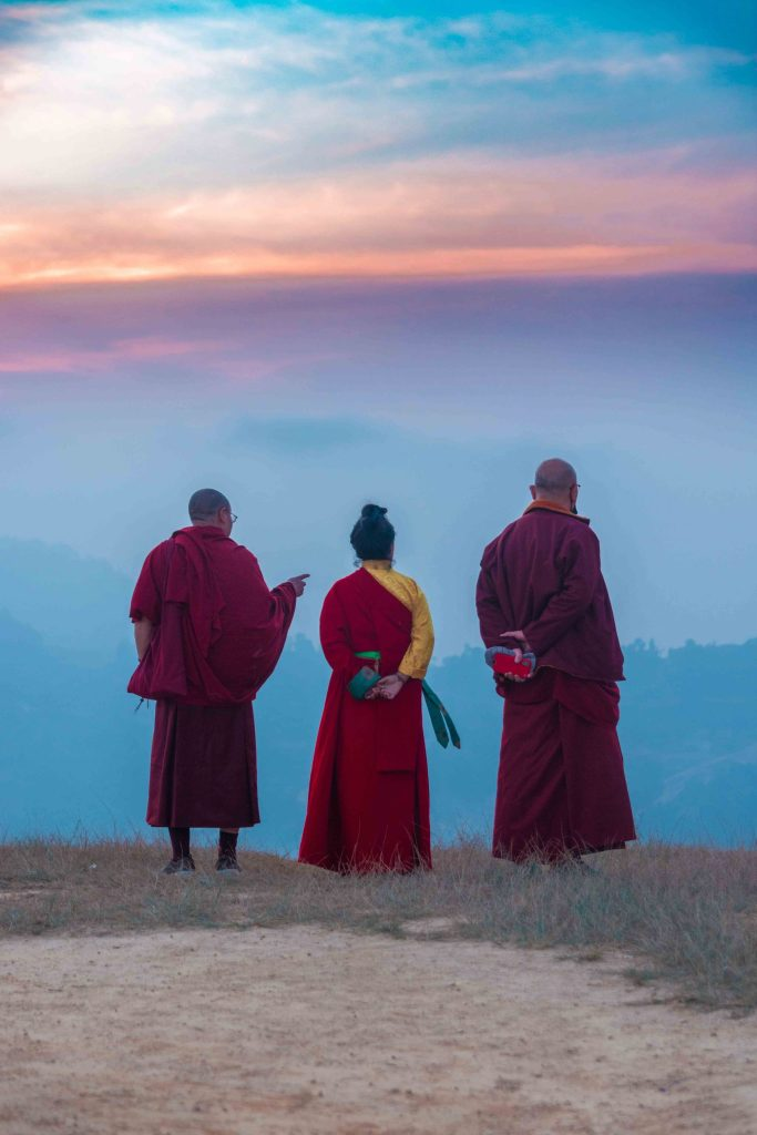 Nun and Monks from White Gumba enjoying the views