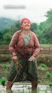 Happy Farmer Planting Rice in Nepal
