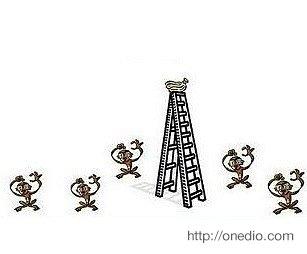 Bir grup bilim adamı bir kafese 5 maymun ve tepesinde muzlar bulunan bir merdiven yerleştiriyor.
