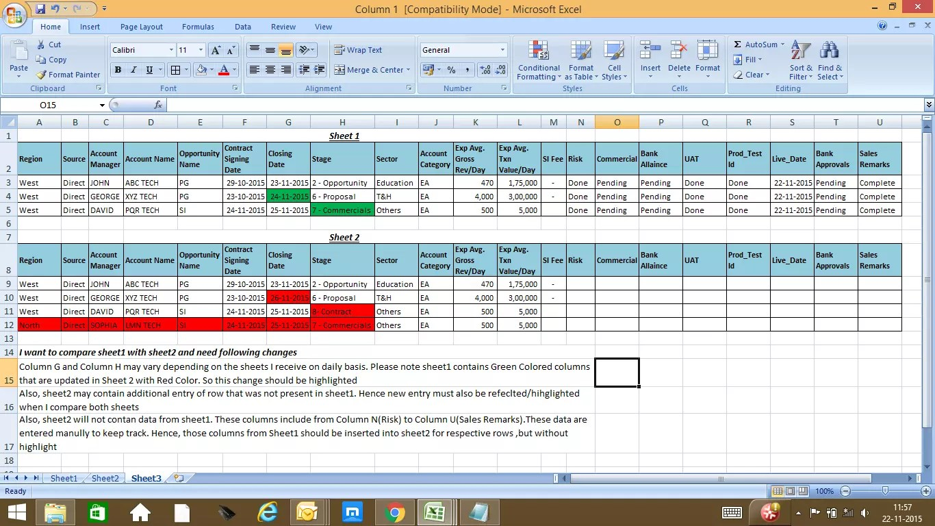 How To Compare Two Excel Sheets With Varying Data Solved