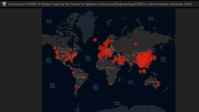 world coronavirus case map