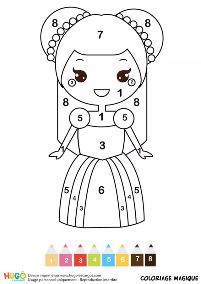 Coloriage magique CP : une belle princesse
