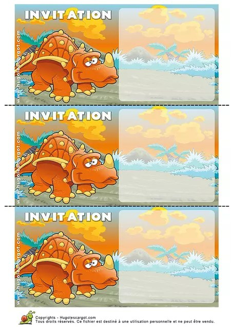 carte invitation anniversaire dinosaure