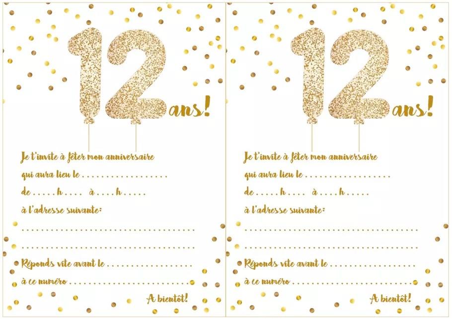 carte d invitation d anniversaire 12 ans