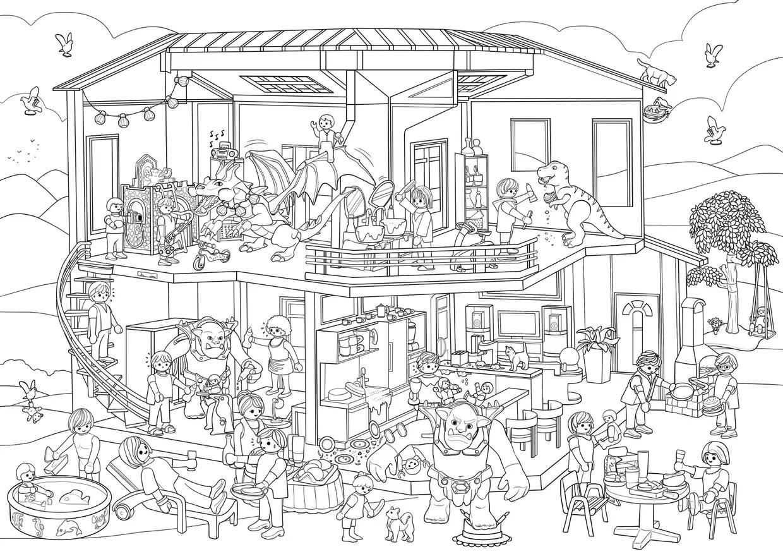 Coloriage Cache Cache Playmobil Maison
