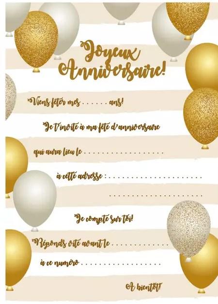 carte d invitation d anniversaire theme