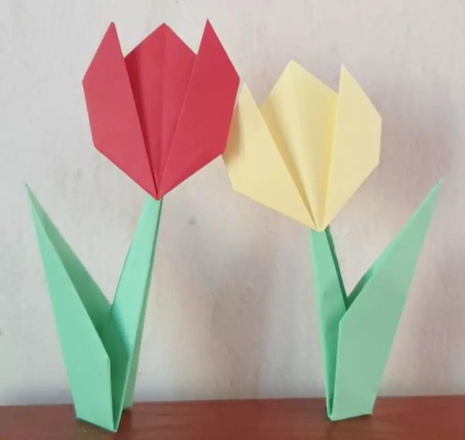 Origami Fleur Tulipe Avec Sa Tige Pliage Facile