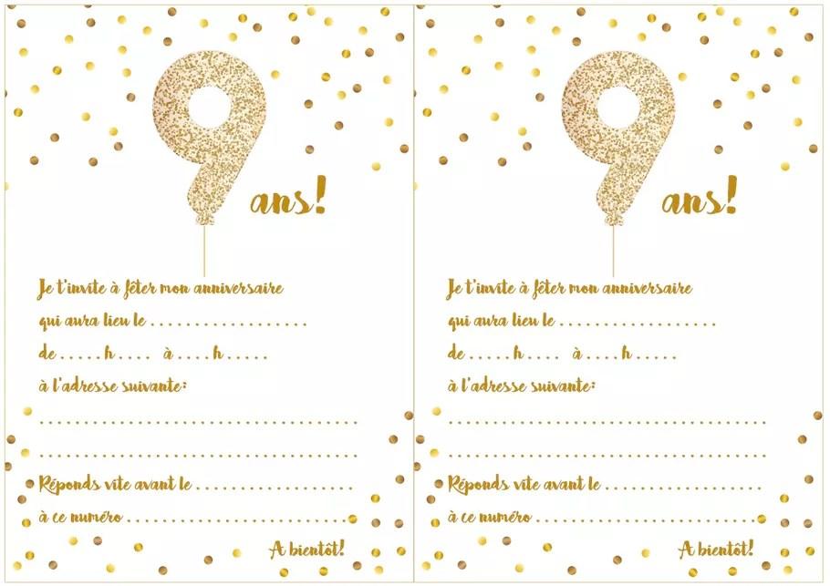 carte d invitation d anniversaire 9 ans