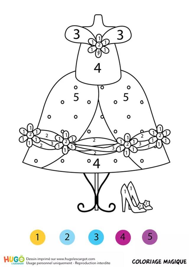 Coloriage magique CP : la robe de Cendrillon