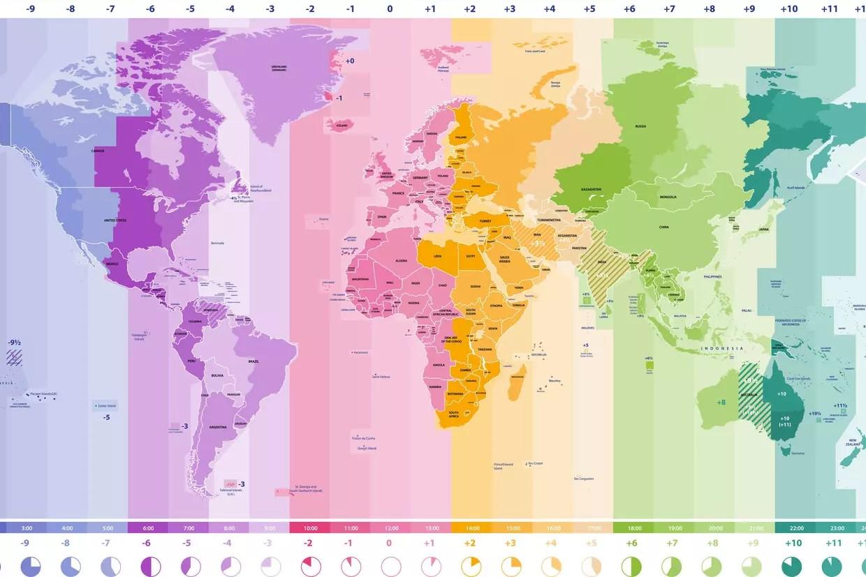 Décalage horaire : carte des 24 fuseaux horaires et calcul du ...