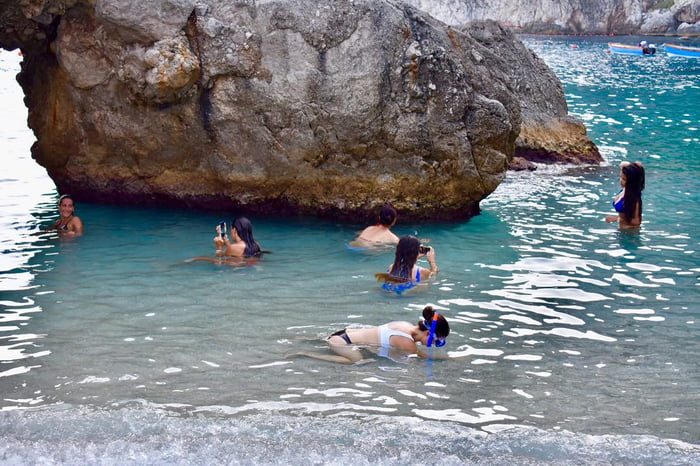 Lots of girls taking Instagram pics at the beach today... my GF is the one snorkeling