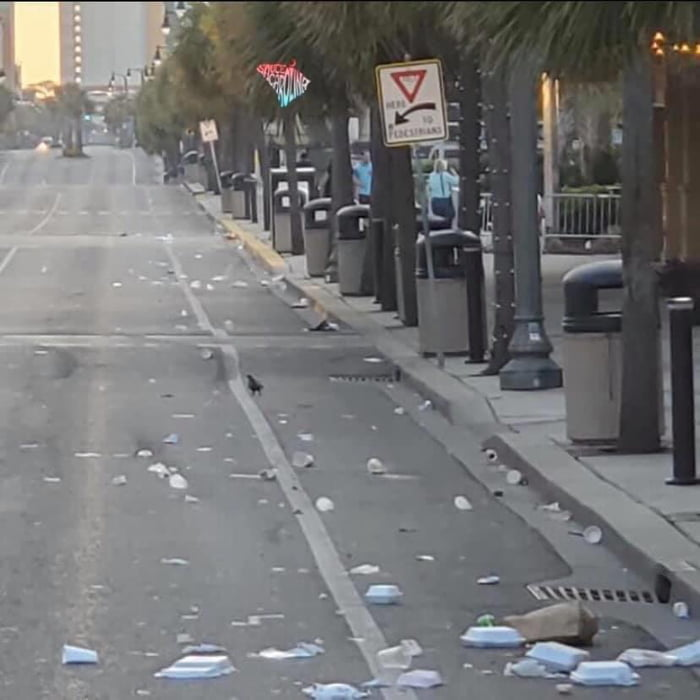 The streets of Ocean Blvd after the first weekend since they reopened. If only there were trash cans available every 5 ft...