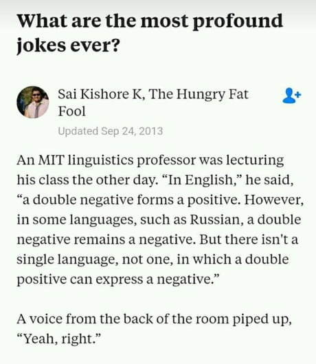 The hungry fat fool answers the question, what are the most profound jokes ever?