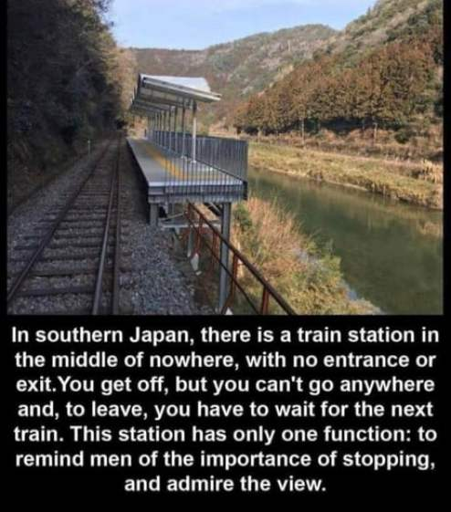 A train station in Japan with no entrance or exit.