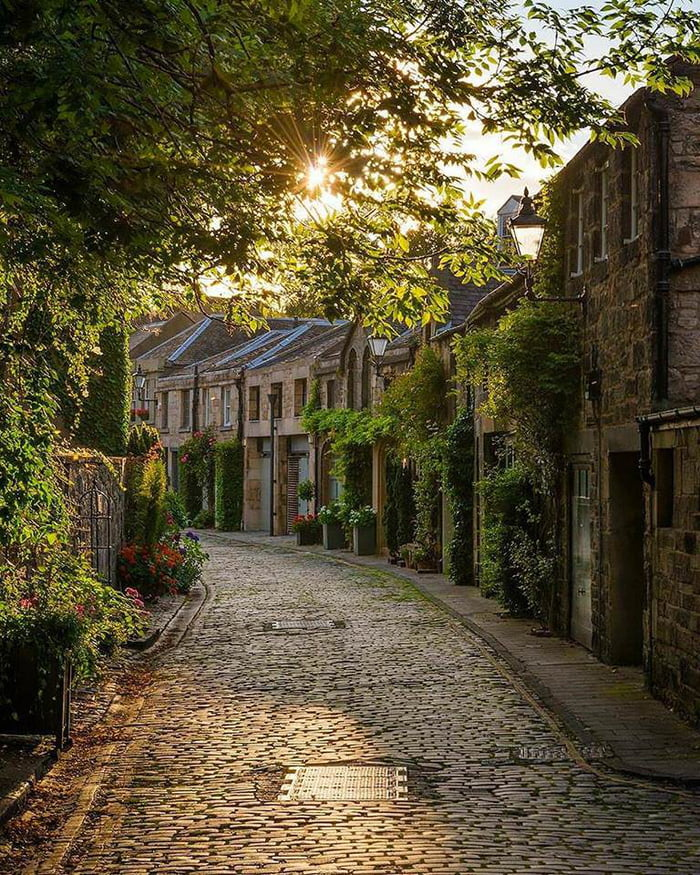 Cobblestone streets and village. Edinburgh, Scotland.