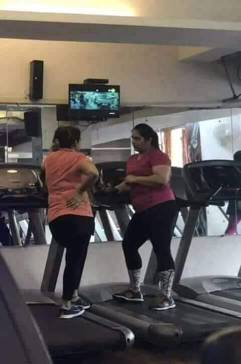 Someone sent a complaining message to the gym's owner saying that his wife is not losing any weight, he replied with this picture..