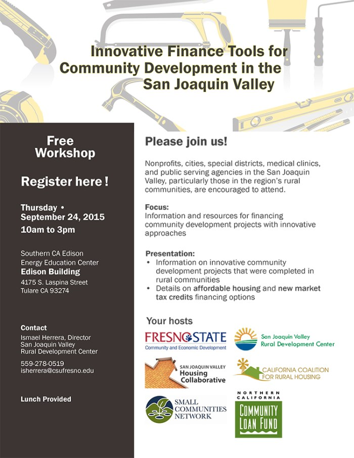 Free Workshop: Innovative Finance Tools for Community Development