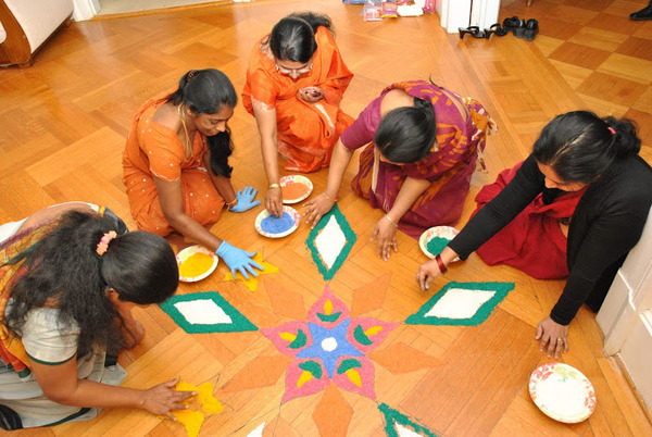 Preparing Pongal Kolam