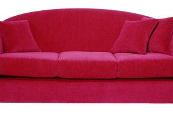 Furniture Brown Fabric Sofa And Rectangle Wooden Table On White Red Rug Added By