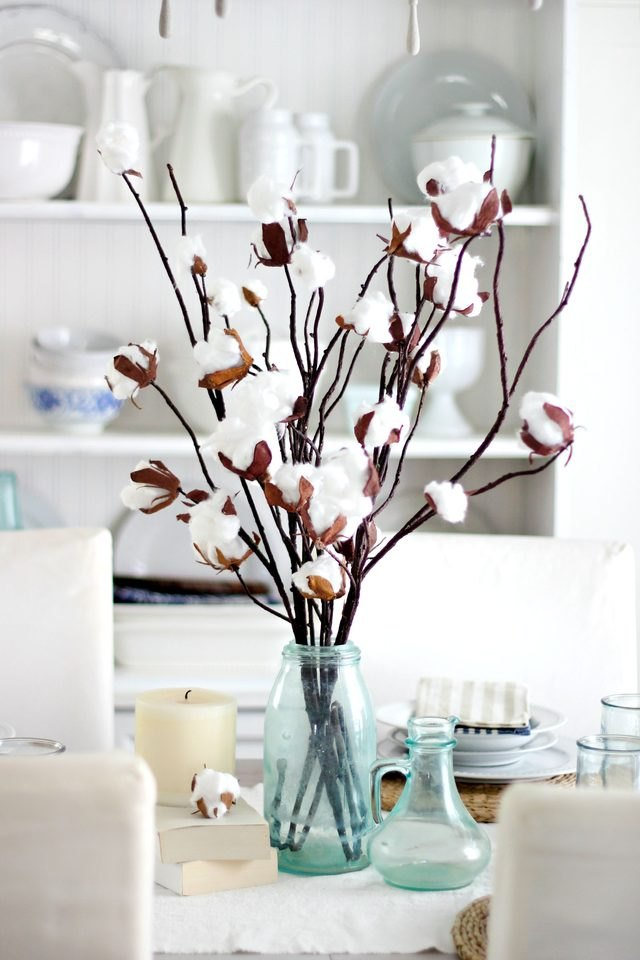 Cotton branch centerpiece