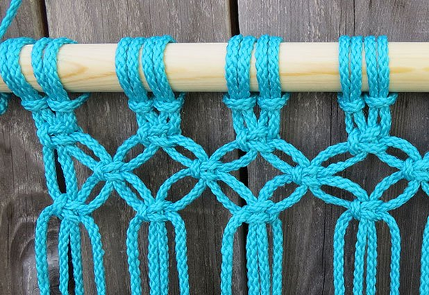 Continue using square knots to create the seat pattern.