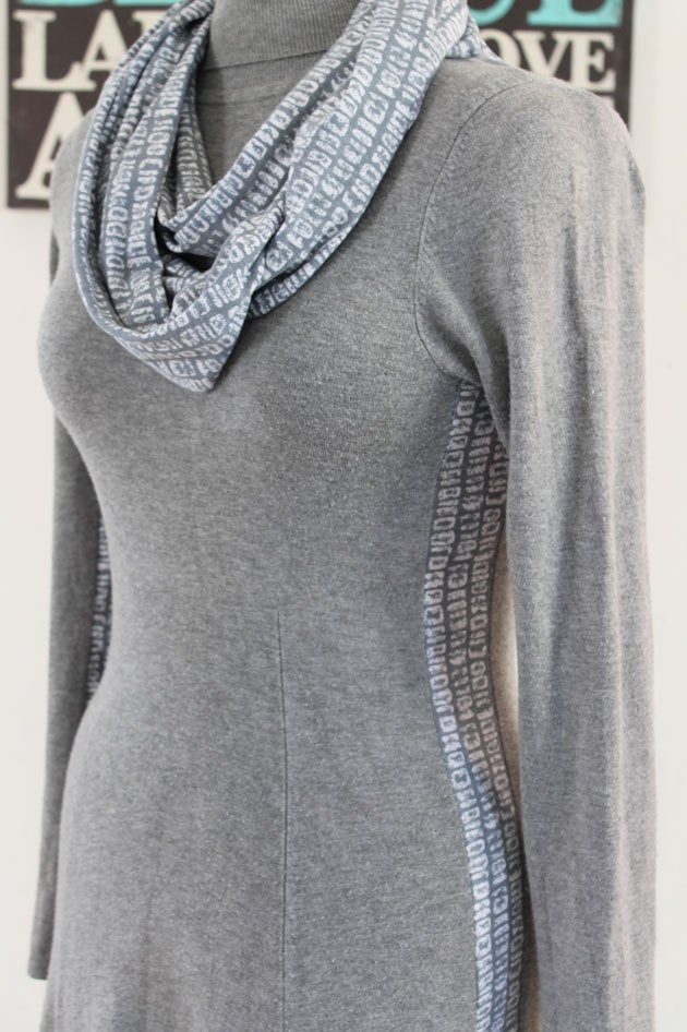 A stylish side panel adds a fresh look to a plain dress.