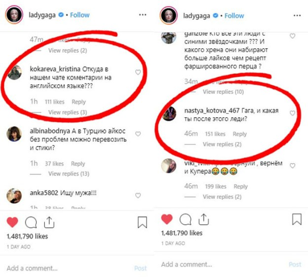Gaga comments | Russian Trolls Turn Lady Gaga's Instagram Into A Hilarious Chat Demanding 'To Give Bradley Cooper Back' | Brain Berries
