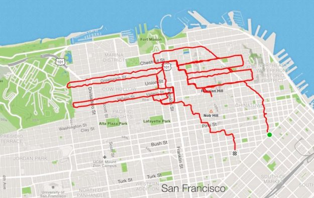 runner Lenny Maughan  Hands holding chopsticks | San-Francisco Runner Creates Art Just By Jogging Around | Brain Berries