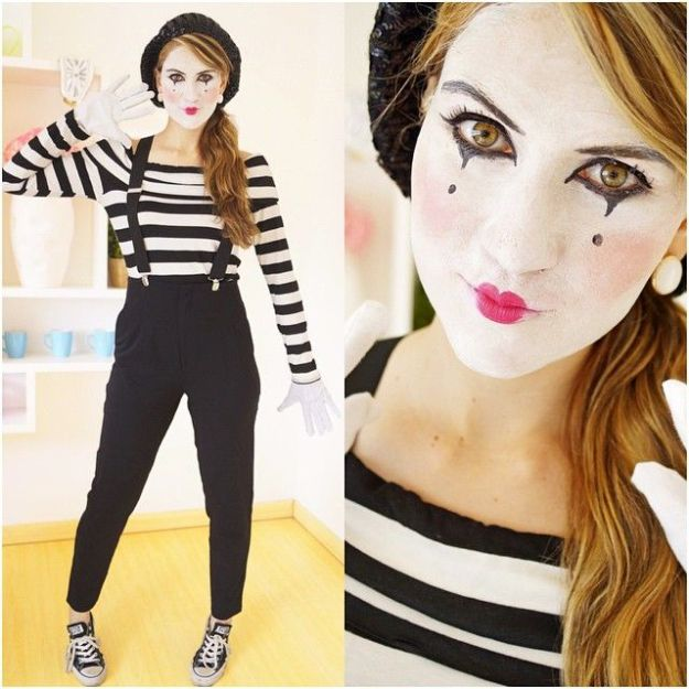 Striped t-shirt and make-up | 18 Last-Minute Halloween Costume Ideas | Brain Berries