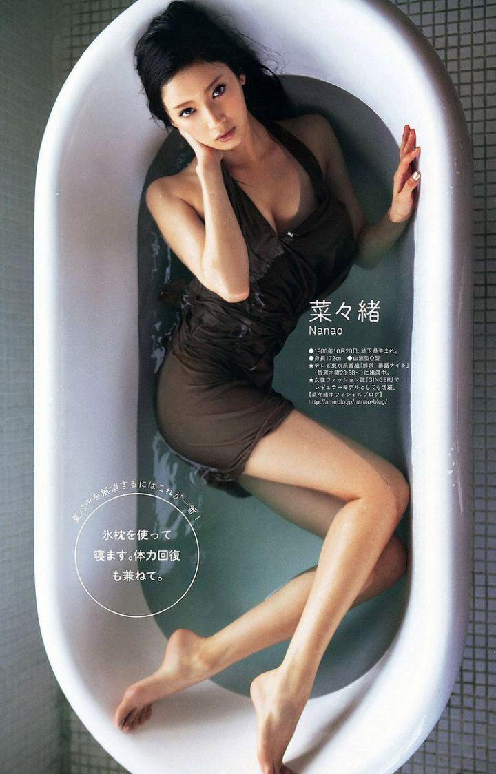 菜菜緒 - Nanao、九頭身辣模、完美比例美腿誘惑、超絕美腳開開、全裸照流出!惡女全裸泡湯照