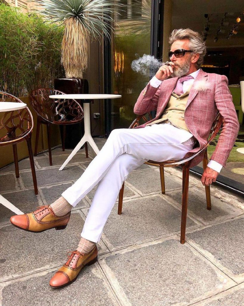 a man in muted pink  | 12 Classiest Yet Fun OOTD You've Ever Seen From Pierrick Mathon | Her Beauty