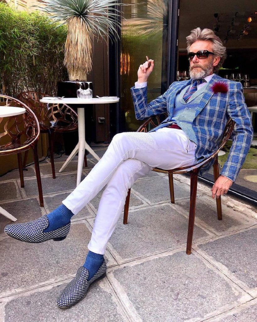 Polka dot shoes, pinstripe waistcoat, stripy tie and a checkered jacket on Pierrick Mathon  | 12 Classiest Yet Fun OOTD You've Ever Seen From Pierrick Mathon | Her Beauty