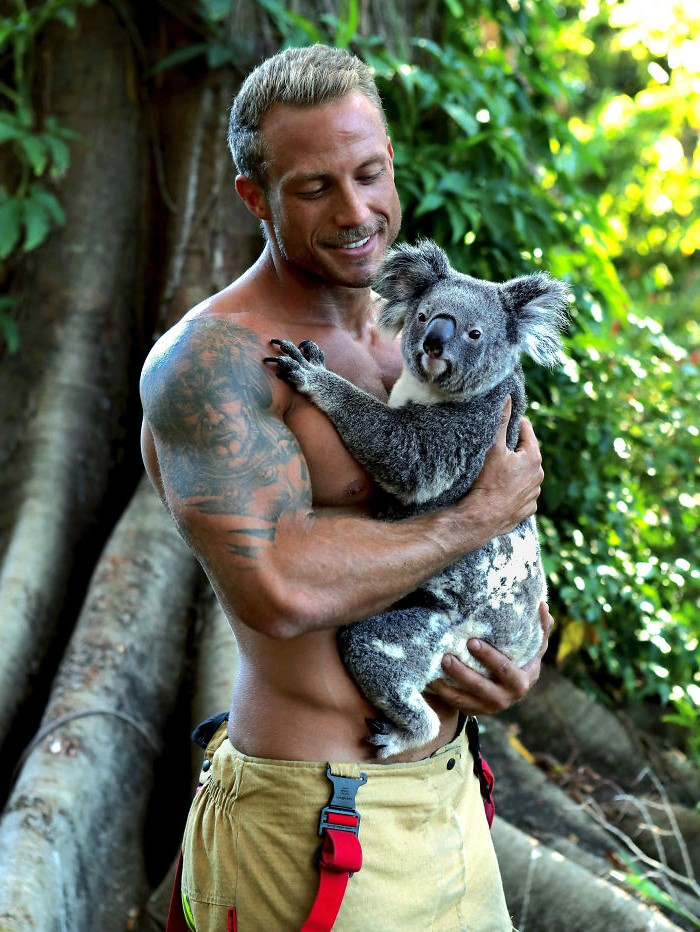 Little koala rumpus| Hot Aussie Firefighters and Animals In 2020 Charity Calendar Melt Our Hearts | Her beauty
