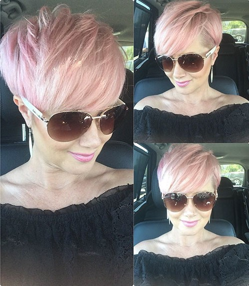 Short feathered pastel hairstyle   Short Hairstyles For Women Over 50   Her Beauty