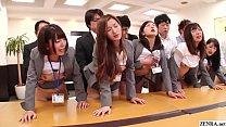 JAV new hire insurances saleswomen huge synchronized office orgy Subtitled