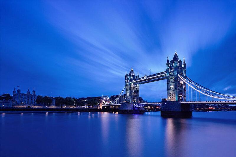 Тауэрский мост в сумерках, Лондон, Великобритания.