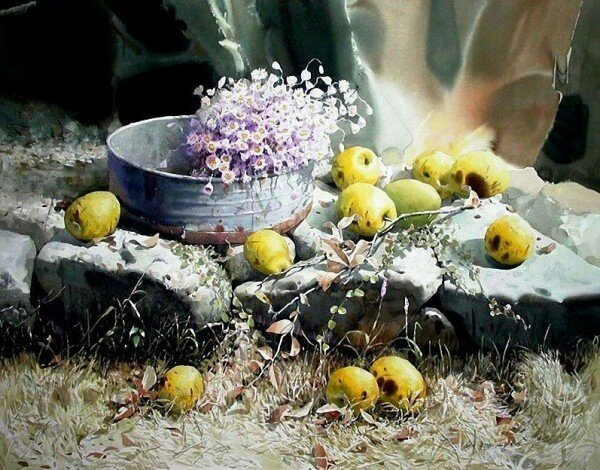 Натюрморт, цветы. Шин Джонг Сик.