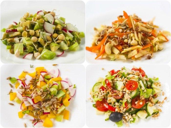 4 простых салата с проростками