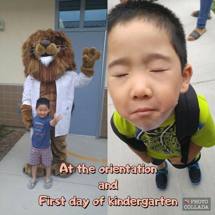 Смешные фотографии детей после первого дня в школе