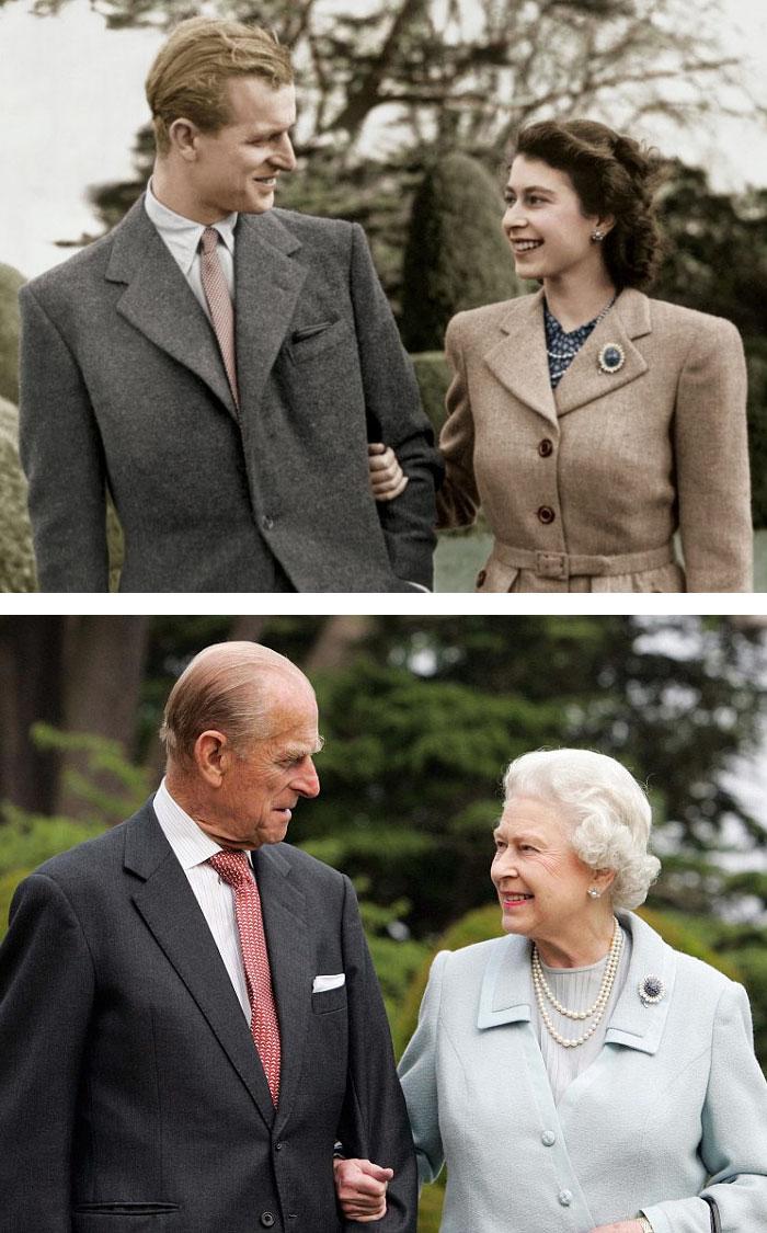 Королева Елизавета и принц Филипп в 1947 году и 60 лет спустя.
