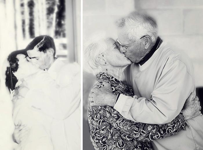 «Мои дедушка и бабушка в день свадьбы и в 60-ю годовщину заключения брака».