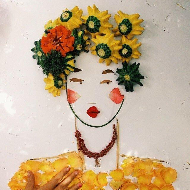 Портреты из цветов, листьев и фруктов от Джастин Блэкени
