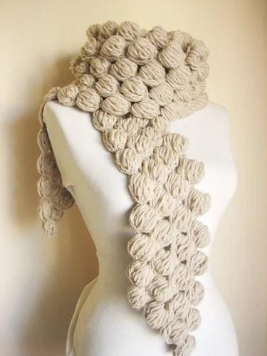 объемное вязание крючком шарфы